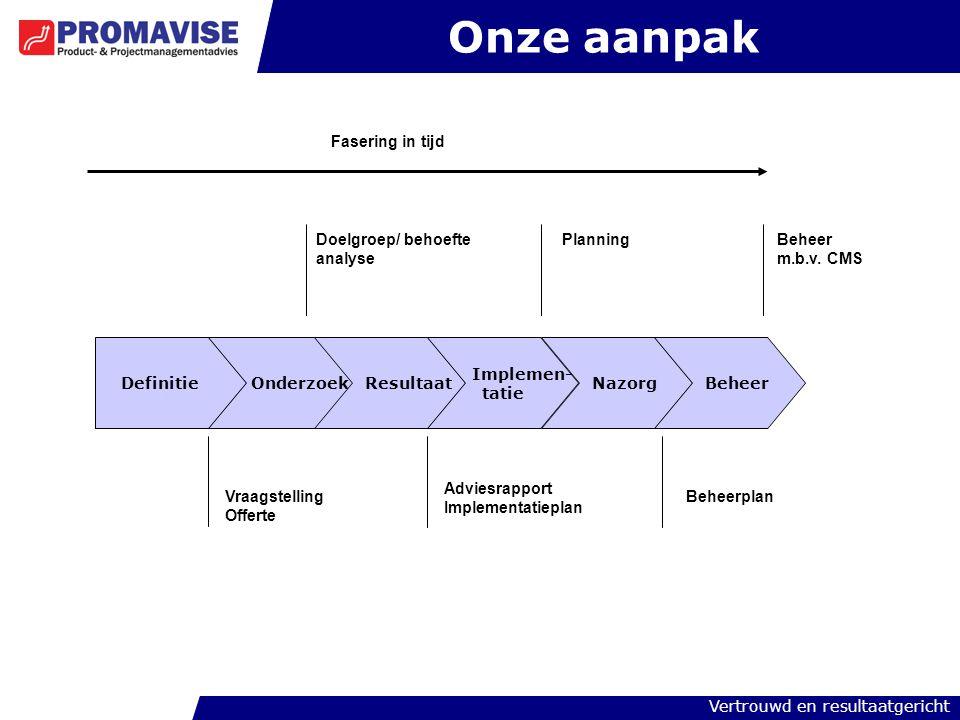 Onze aanpak Fasering in tijd Doelgroep/ behoefte analyse Planning