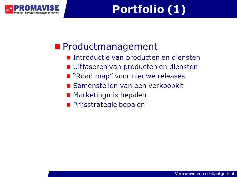 Portfolio (1) Productmanagement Introductie van producten en diensten