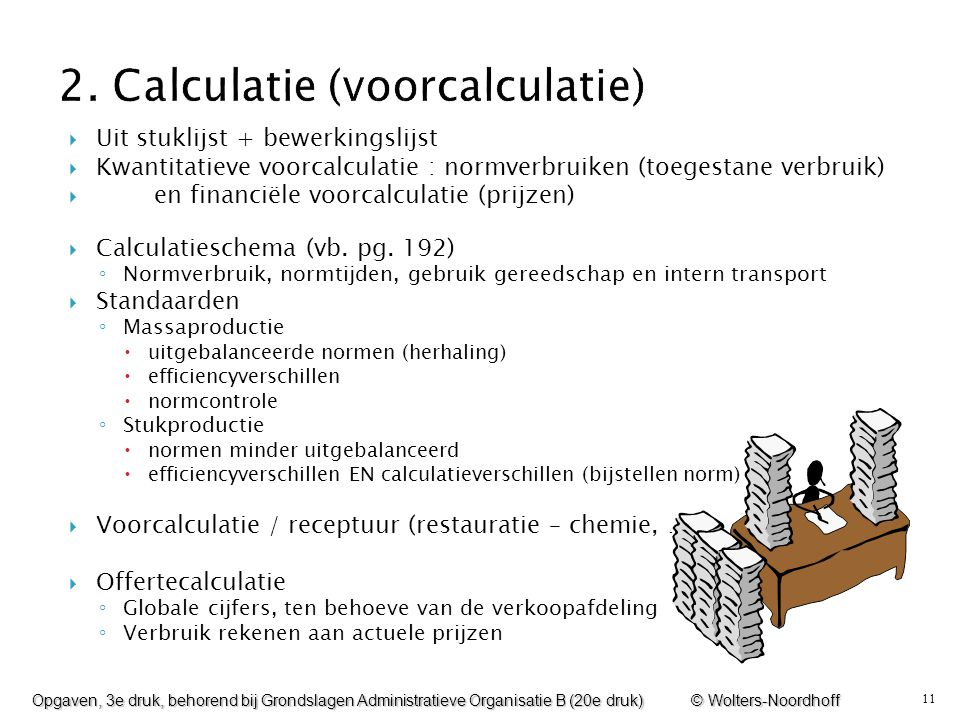 2. Calculatie (voorcalculatie)