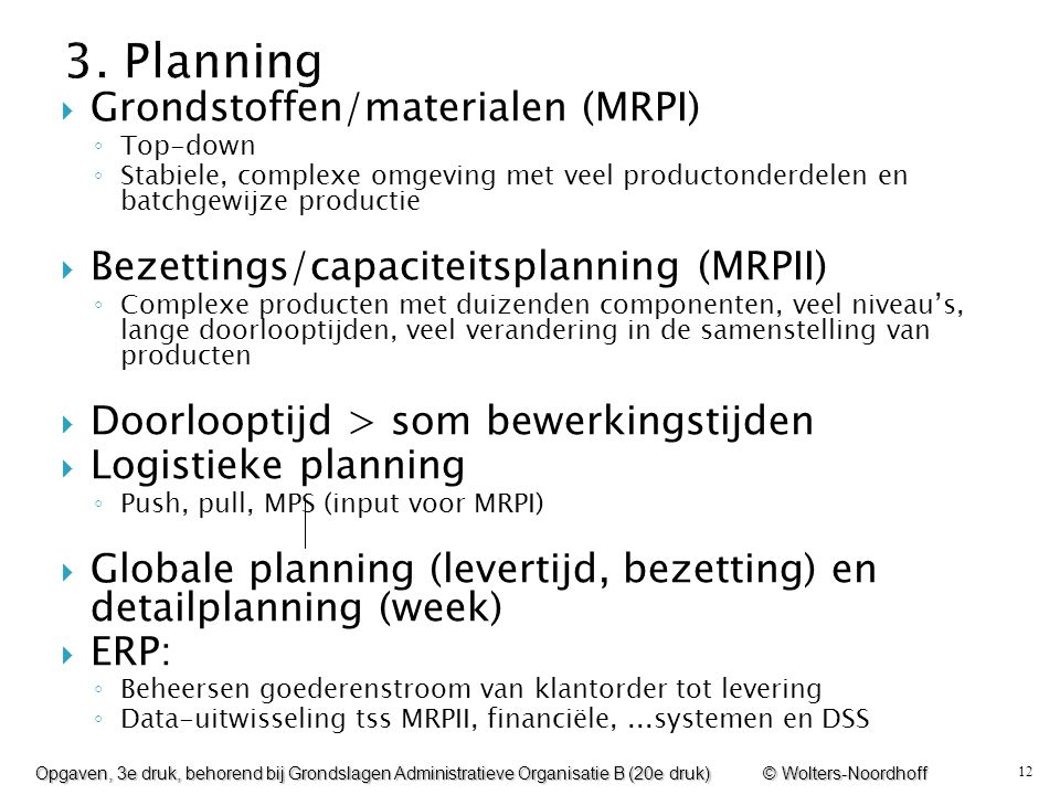 3. Planning Grondstoffen/materialen (MRPI)
