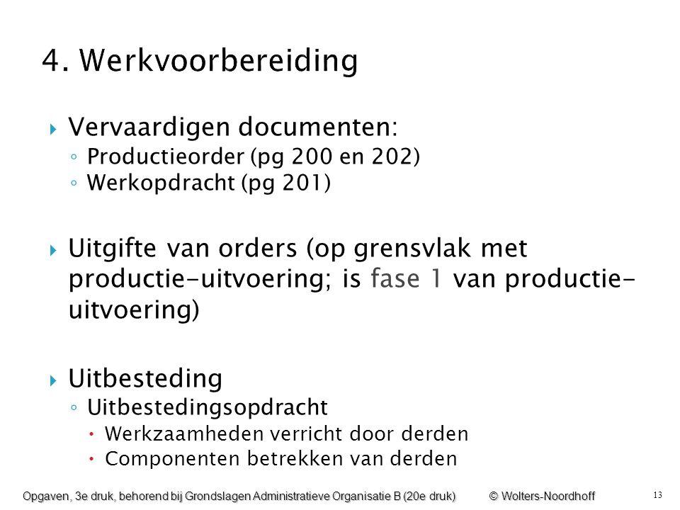 4. Werkvoorbereiding Vervaardigen documenten: