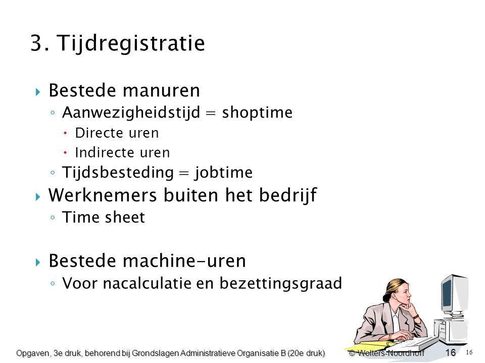 3. Tijdregistratie Bestede manuren Werknemers buiten het bedrijf