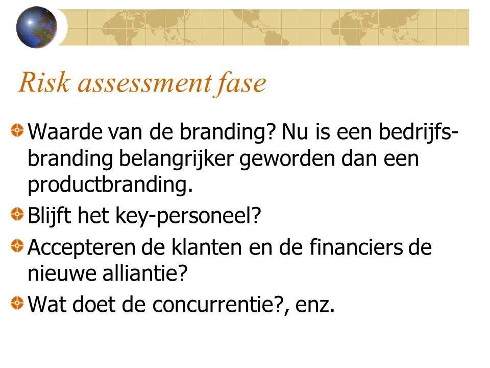 Risk assessment fase Waarde van de branding Nu is een bedrijfs-branding belangrijker geworden dan een productbranding.