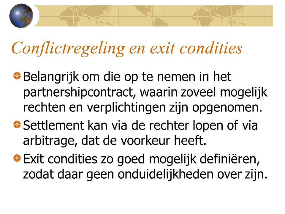 Conflictregeling en exit condities