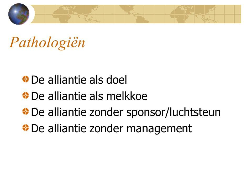 Pathologiën De alliantie als doel De alliantie als melkkoe