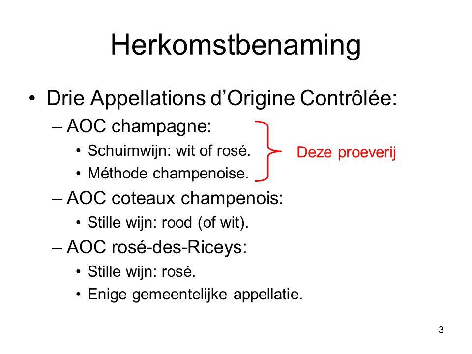 Herkomstbenaming Drie Appellations d'Origine Contrôlée: AOC champagne: