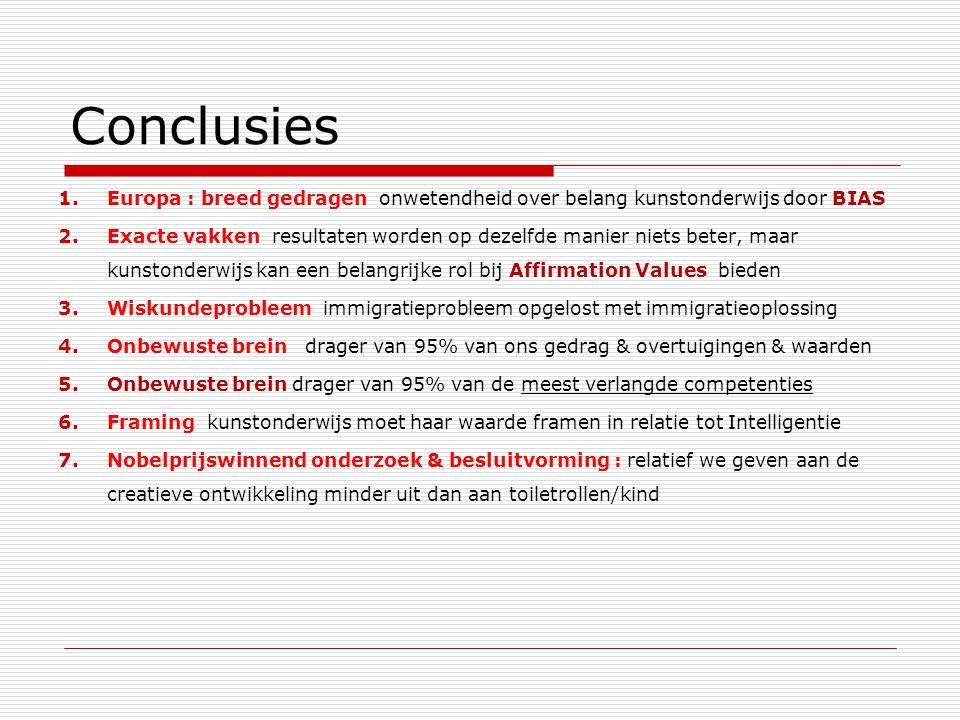 Conclusies Europa : breed gedragen onwetendheid over belang kunstonderwijs door BIAS.