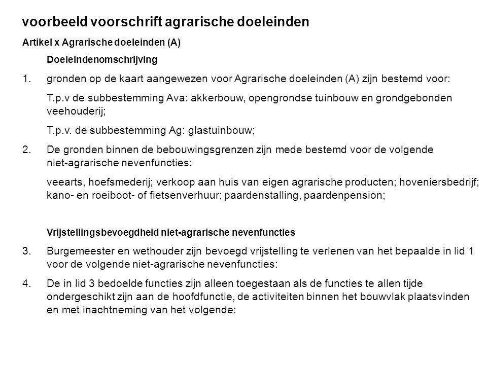 voorbeeld voorschrift agrarische doeleinden