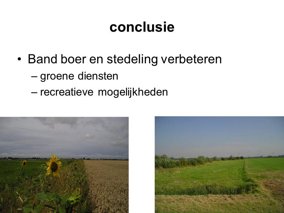 conclusie Band boer en stedeling verbeteren groene diensten