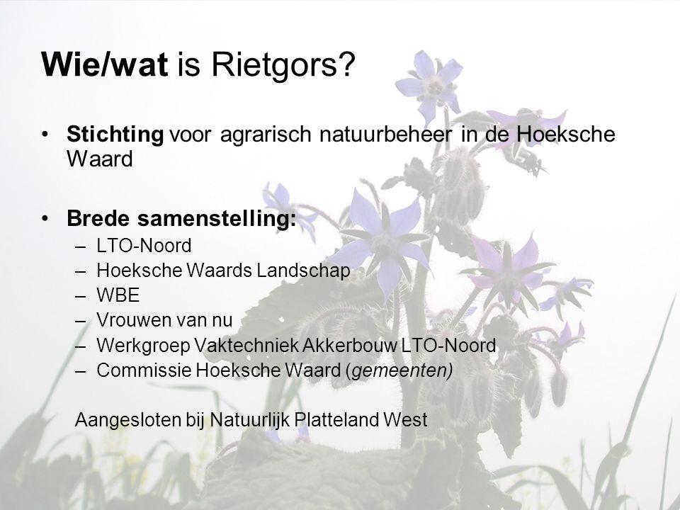 Wie/wat is Rietgors Stichting voor agrarisch natuurbeheer in de Hoeksche Waard. Brede samenstelling: