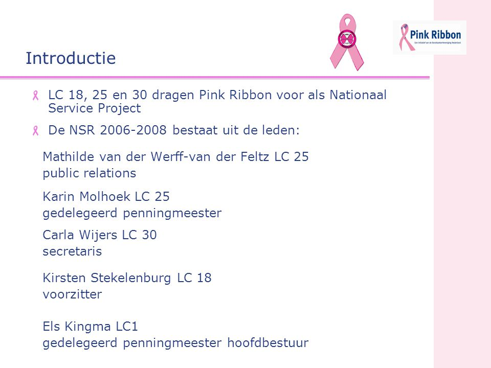 Introductie LC 18, 25 en 30 dragen Pink Ribbon voor als Nationaal Service Project. De NSR 2006-2008 bestaat uit de leden: