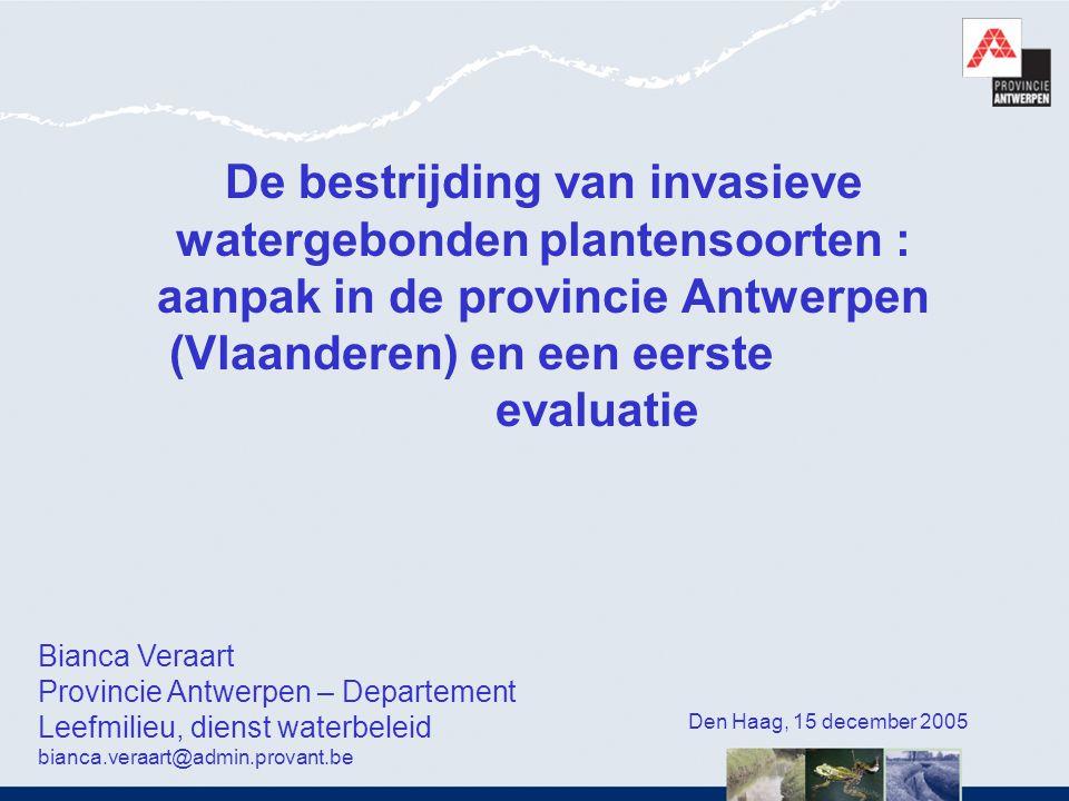 De bestrijding van invasieve watergebonden plantensoorten : aanpak in de provincie Antwerpen (Vlaanderen) en een eerste evaluatie
