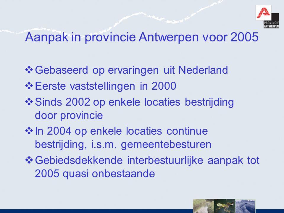 Aanpak in provincie Antwerpen voor 2005