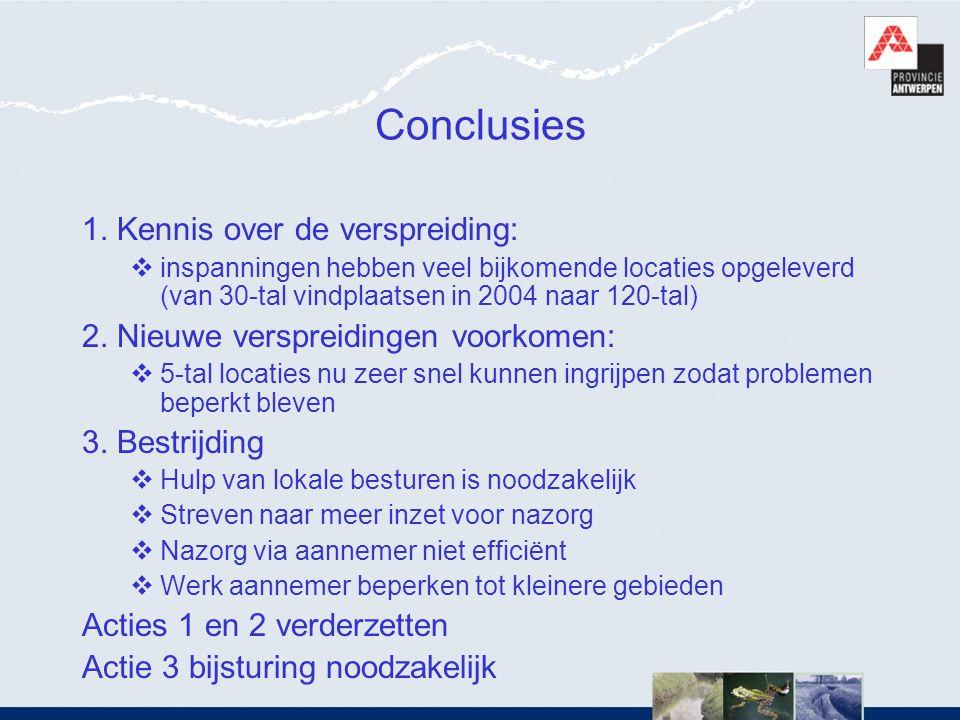 Conclusies 1. Kennis over de verspreiding: