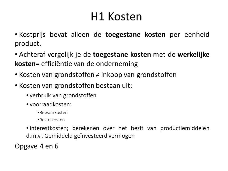 H1 Kosten Kostprijs bevat alleen de toegestane kosten per eenheid product.