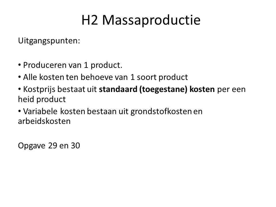 H2 Massaproductie Uitgangspunten: Produceren van 1 product.