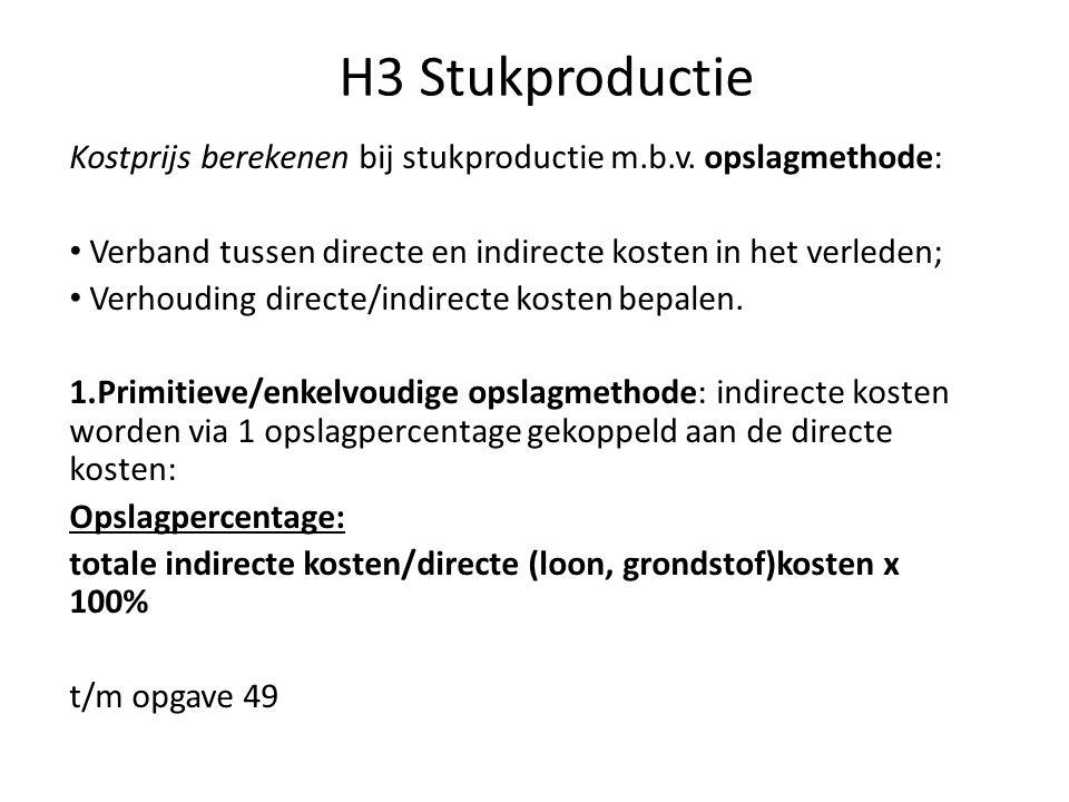 H3 Stukproductie Kostprijs berekenen bij stukproductie m.b.v. opslagmethode: Verband tussen directe en indirecte kosten in het verleden;