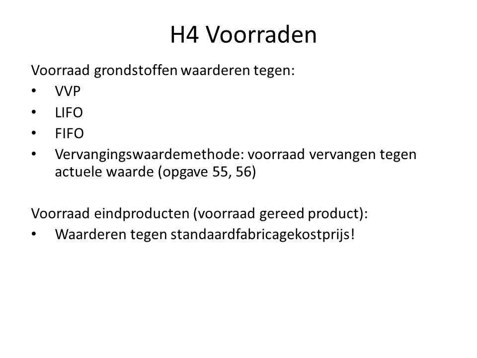 H4 Voorraden Voorraad grondstoffen waarderen tegen: VVP LIFO FIFO