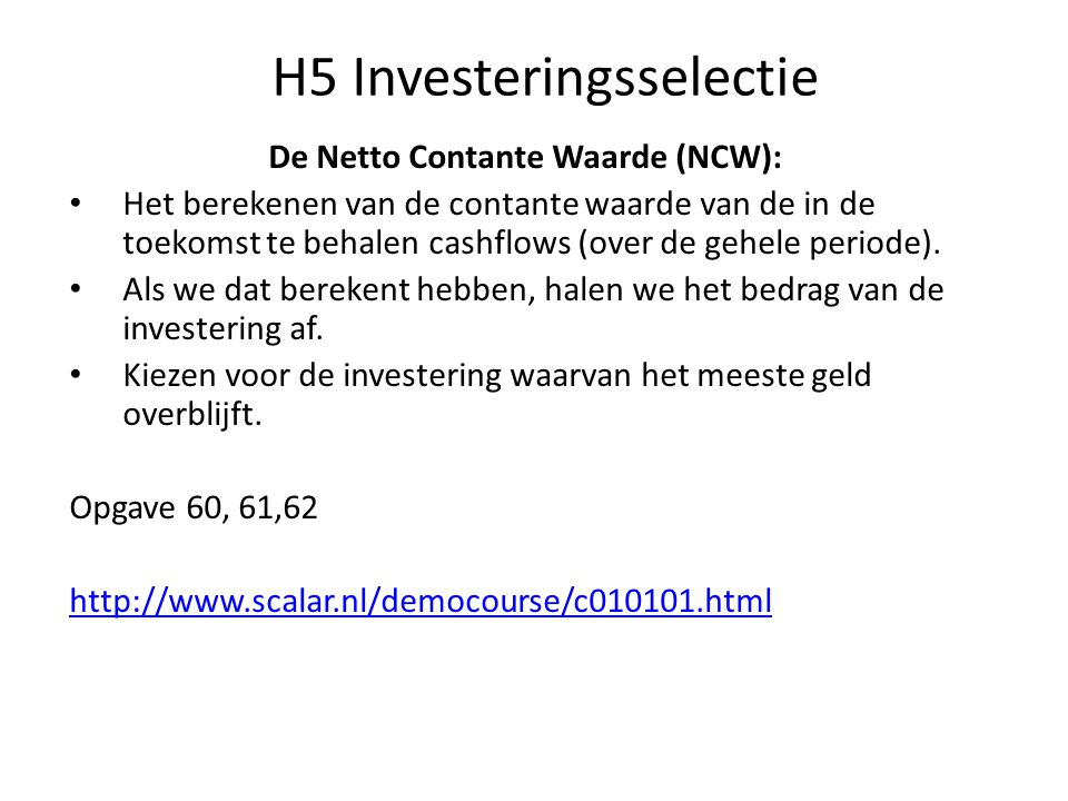 H5 Investeringsselectie