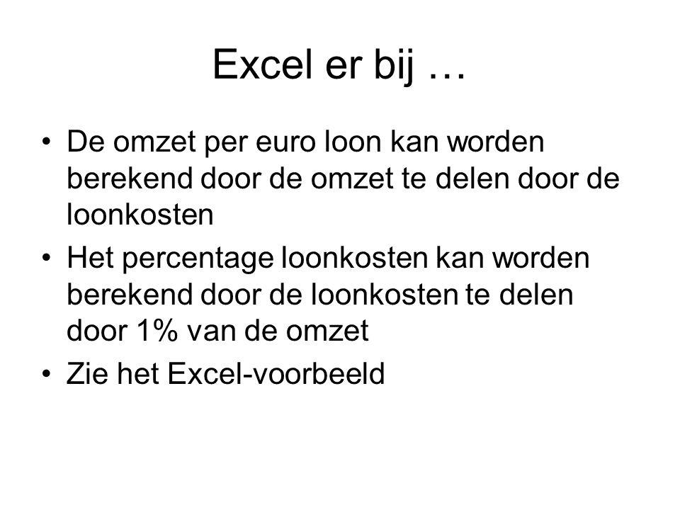 Excel er bij … De omzet per euro loon kan worden berekend door de omzet te delen door de loonkosten.