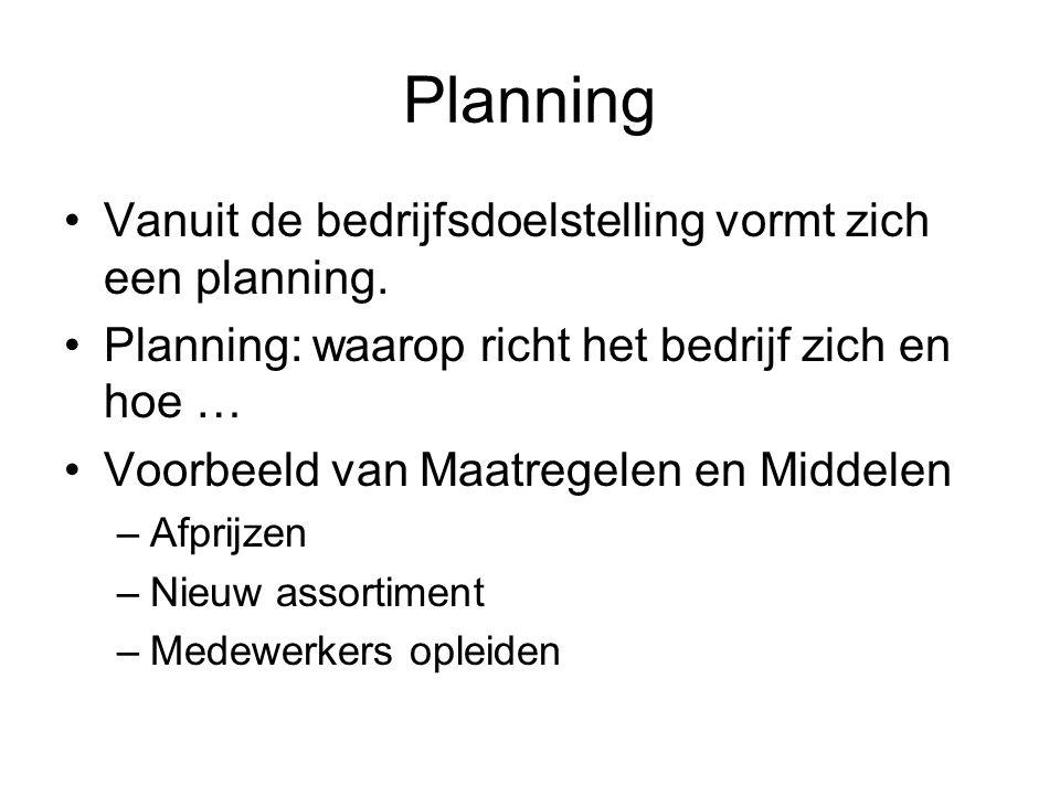 Planning Vanuit de bedrijfsdoelstelling vormt zich een planning.