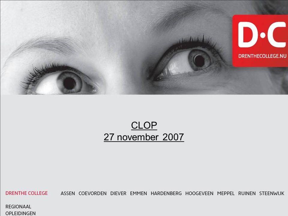 CLOP 27 november 2007 Titel in kapitalen met onderlijn, lettertype Arial Size 24 Bold, indien aanwezig lettertype Monitor Bold nemen.
