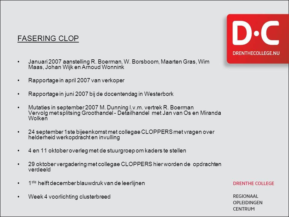 FASERING CLOP Januari 2007 aanstelling R. Boerman, W. Borsboom, Maarten Gras, Wim Maas, Johan Wijk en Arnoud Wonnink.