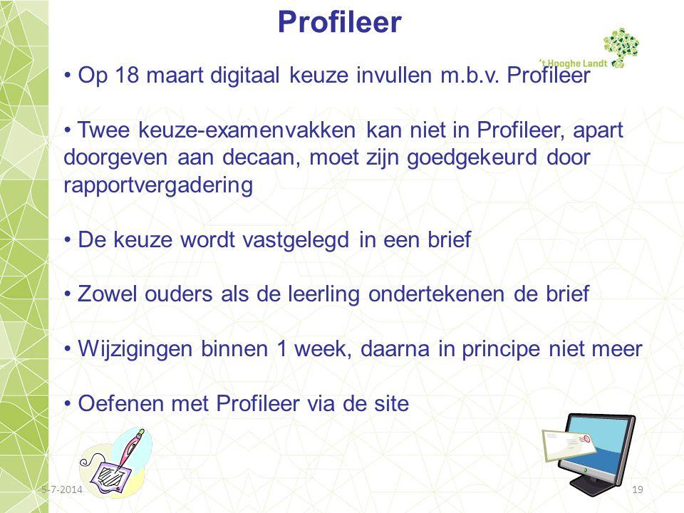 Profileer Op 18 maart digitaal keuze invullen m.b.v. Profileer