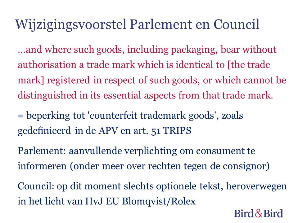 Wijzigingsvoorstel Parlement en Council