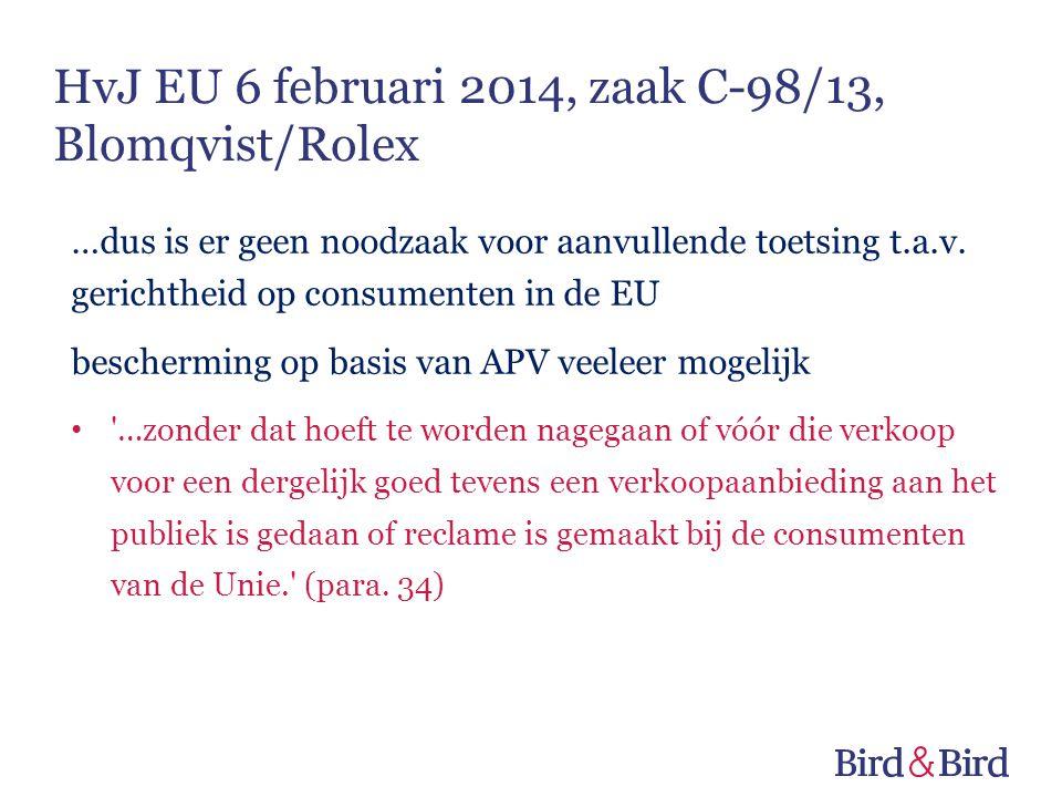 HvJ EU 6 februari 2014, zaak C-98/13, Blomqvist/Rolex