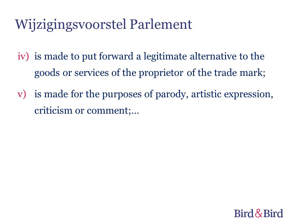 Wijzigingsvoorstel Parlement