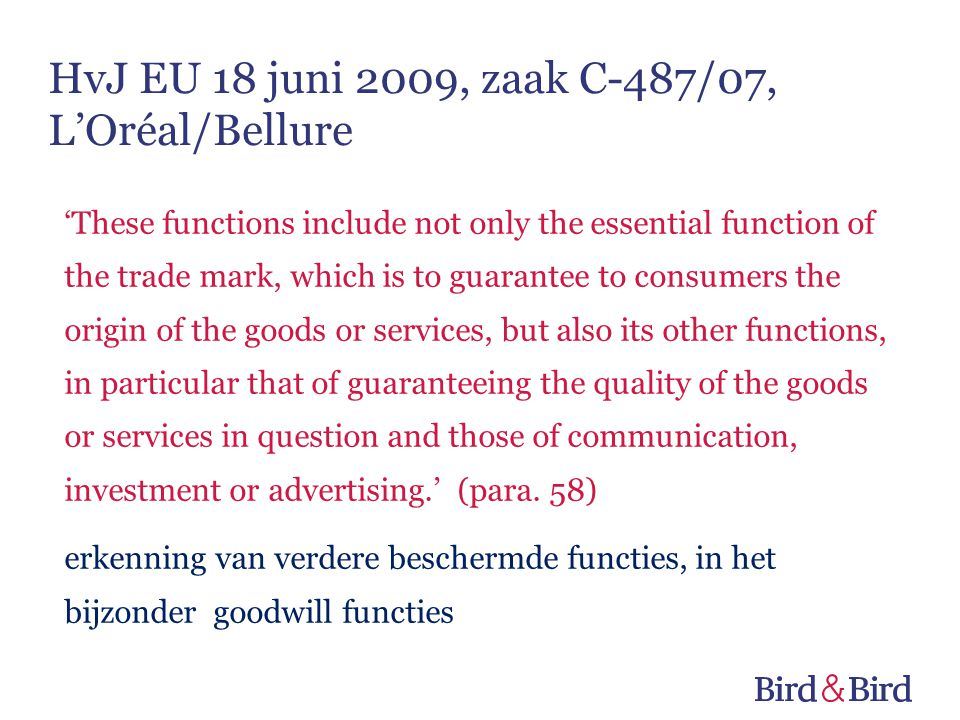 HvJ EU 18 juni 2009, zaak C-487/07, L'Oréal/Bellure