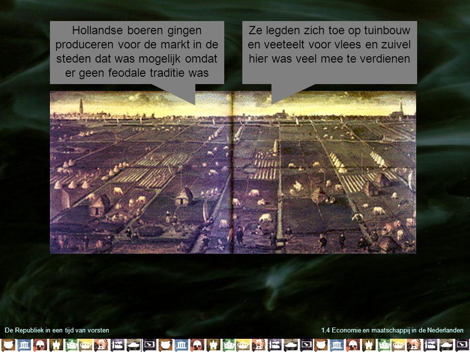 Hollandse boeren gingen produceren voor de markt in de steden dat was mogelijk omdat er geen feodale traditie was