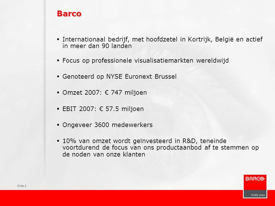 Barco Internationaal bedrijf, met hoofdzetel in Kortrijk, België en actief in meer dan 90 landen.