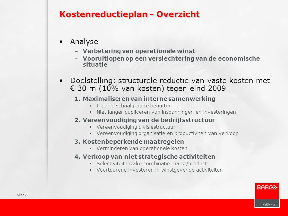 Kostenreductieplan - Overzicht