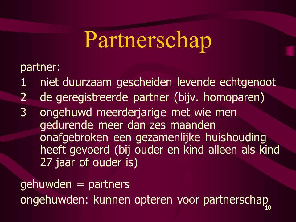 Partnerschap partner: 1 niet duurzaam gescheiden levende echtgenoot