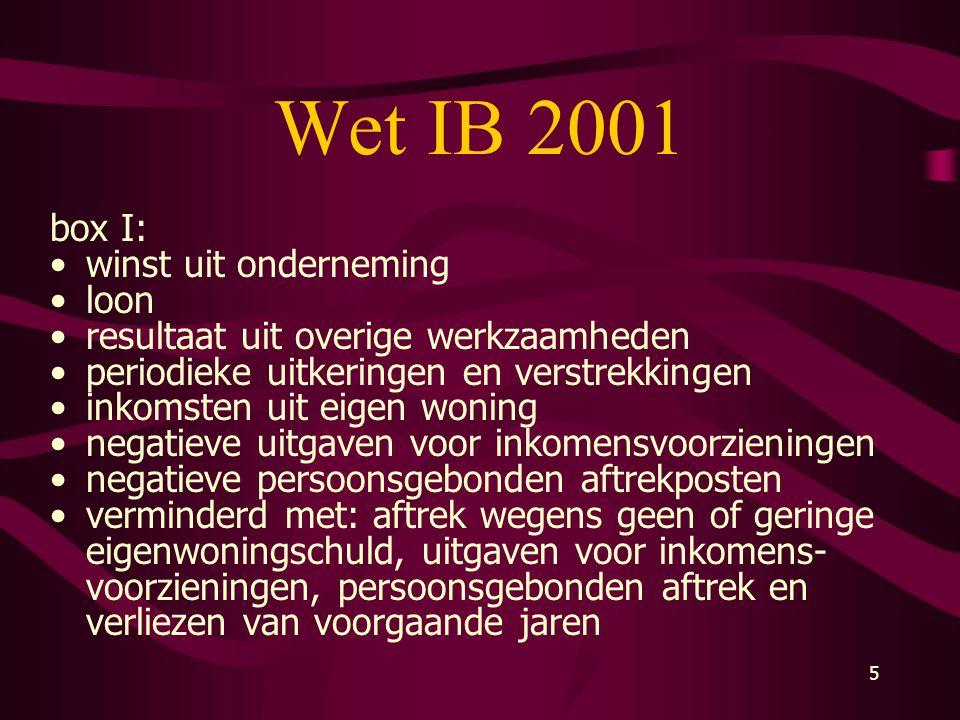 Wet IB 2001 box I: winst uit onderneming loon