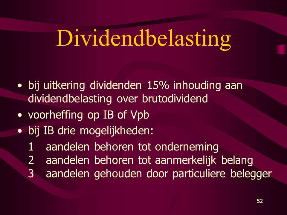 Dividendbelasting bij uitkering dividenden 15% inhouding aan dividendbelasting over brutodividend. voorheffing op IB of Vpb.