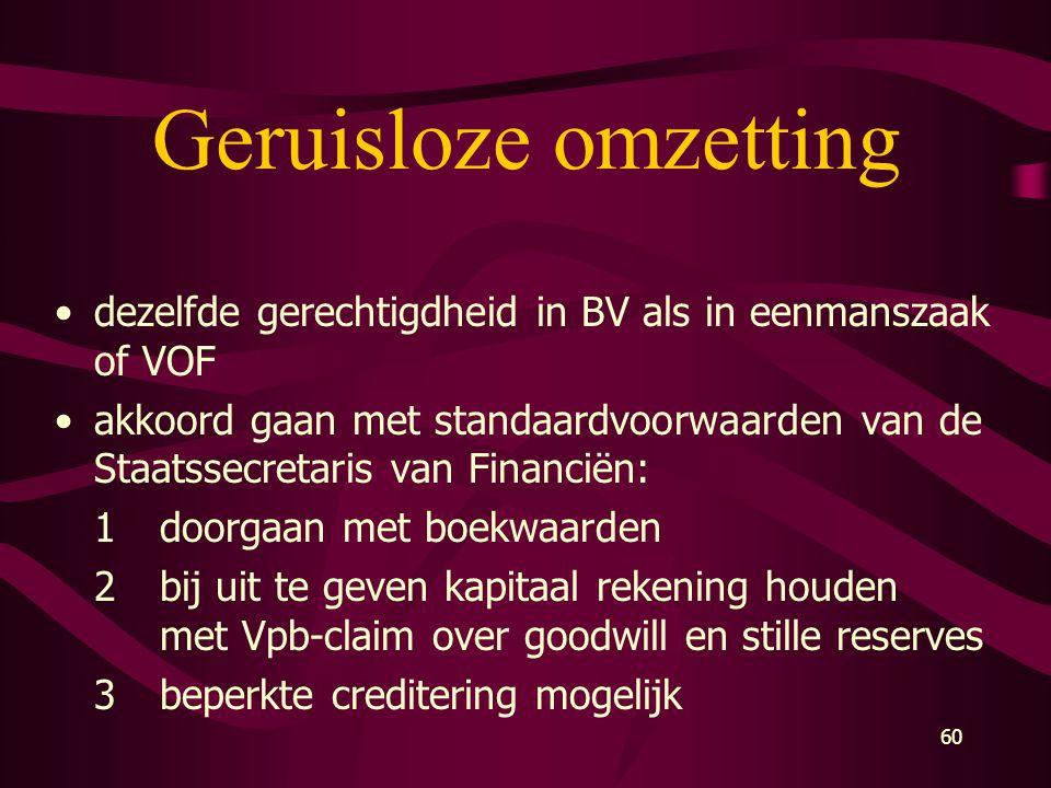 Geruisloze omzetting dezelfde gerechtigdheid in BV als in eenmanszaak of VOF.