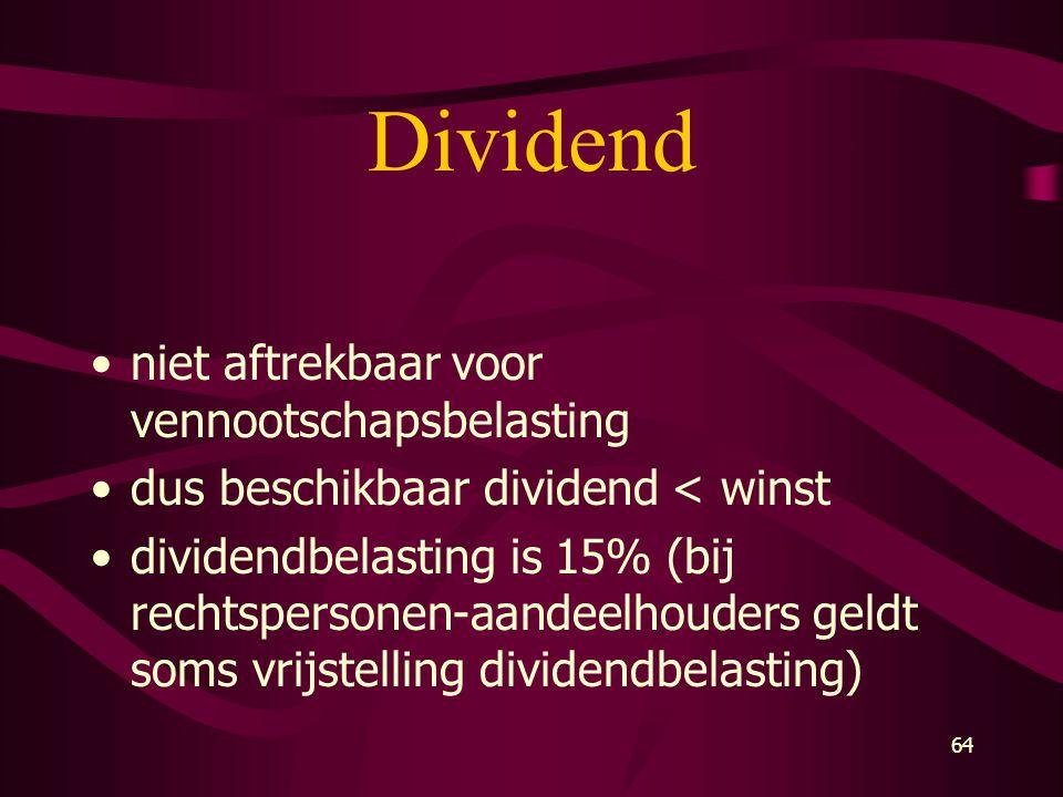 Dividend niet aftrekbaar voor vennootschapsbelasting