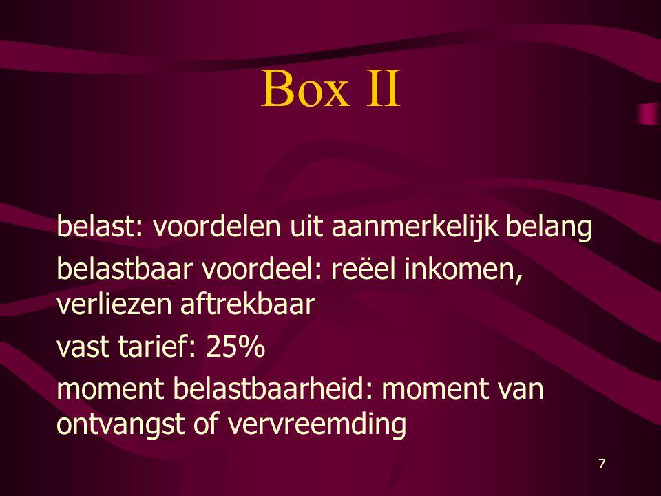 Box II belast: voordelen uit aanmerkelijk belang