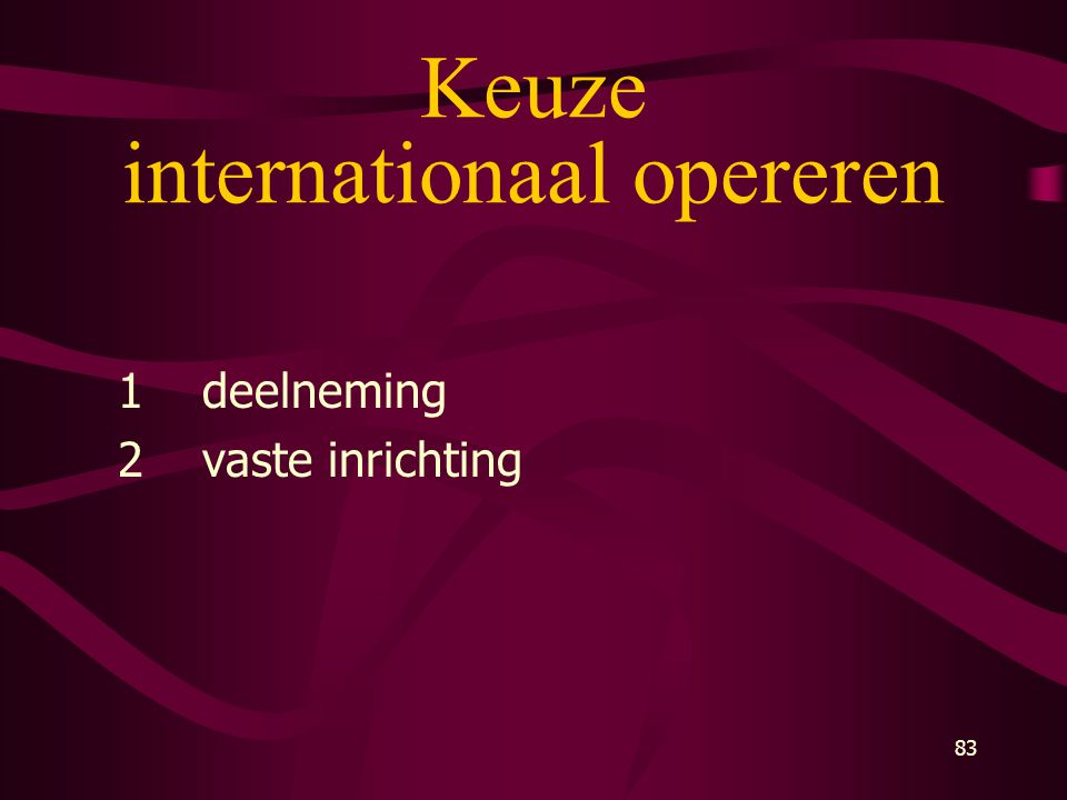 Keuze internationaal opereren