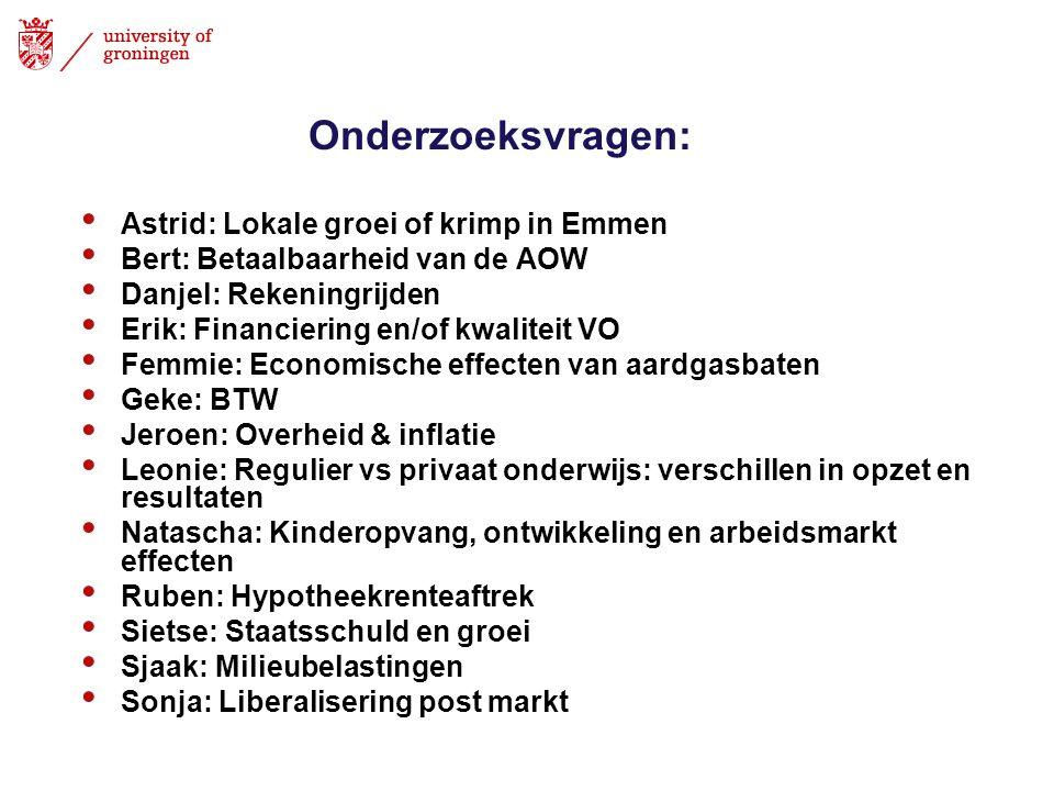 Onderzoeksvragen: Astrid: Lokale groei of krimp in Emmen