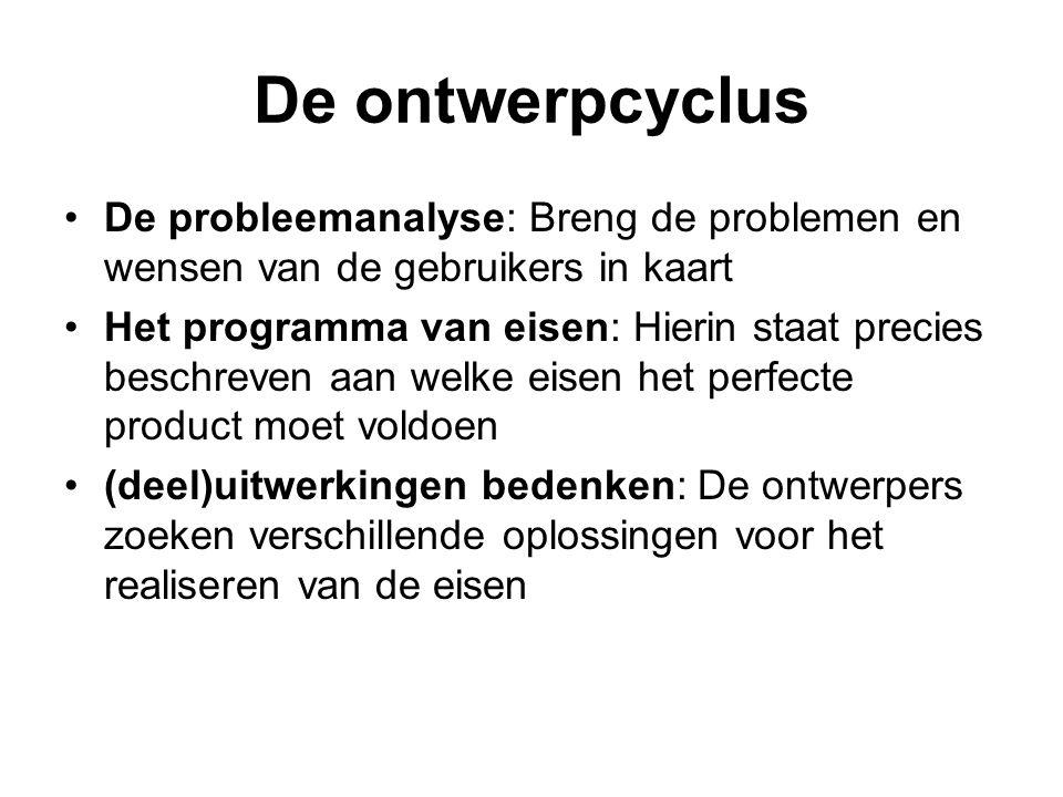 De ontwerpcyclus De probleemanalyse: Breng de problemen en wensen van de gebruikers in kaart.