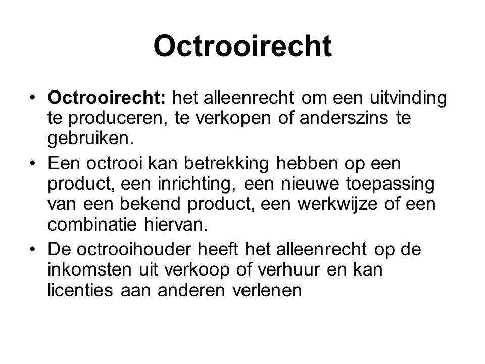 Octrooirecht Octrooirecht: het alleenrecht om een uitvinding te produceren, te verkopen of anderszins te gebruiken.