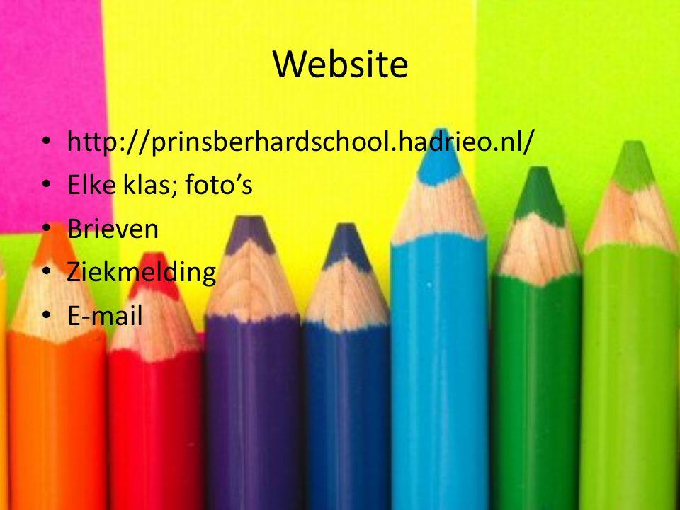 Website http://prinsberhardschool.hadrieo.nl/ Elke klas; foto's