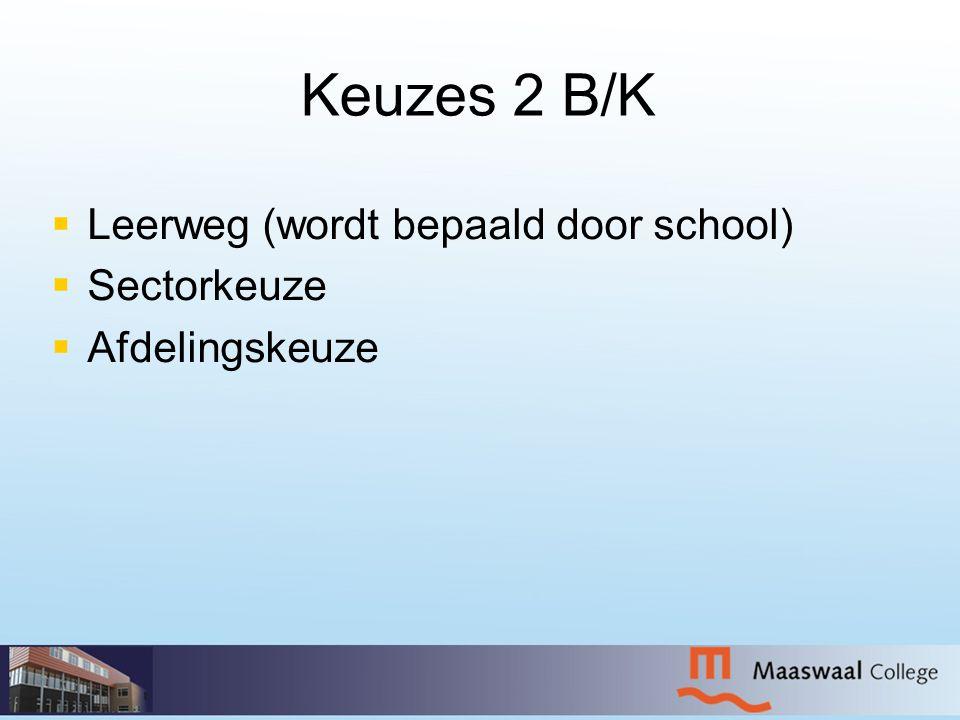 Keuzes 2 B/K Leerweg (wordt bepaald door school) Sectorkeuze