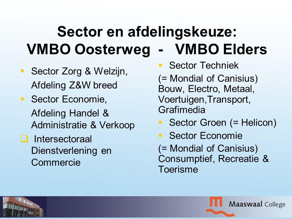 Sector en afdelingskeuze: VMBO Oosterweg - VMBO Elders