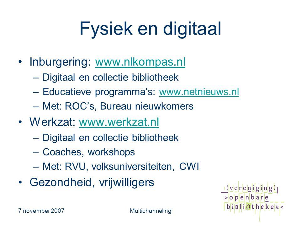 Fysiek en digitaal Inburgering: www.nlkompas.nl