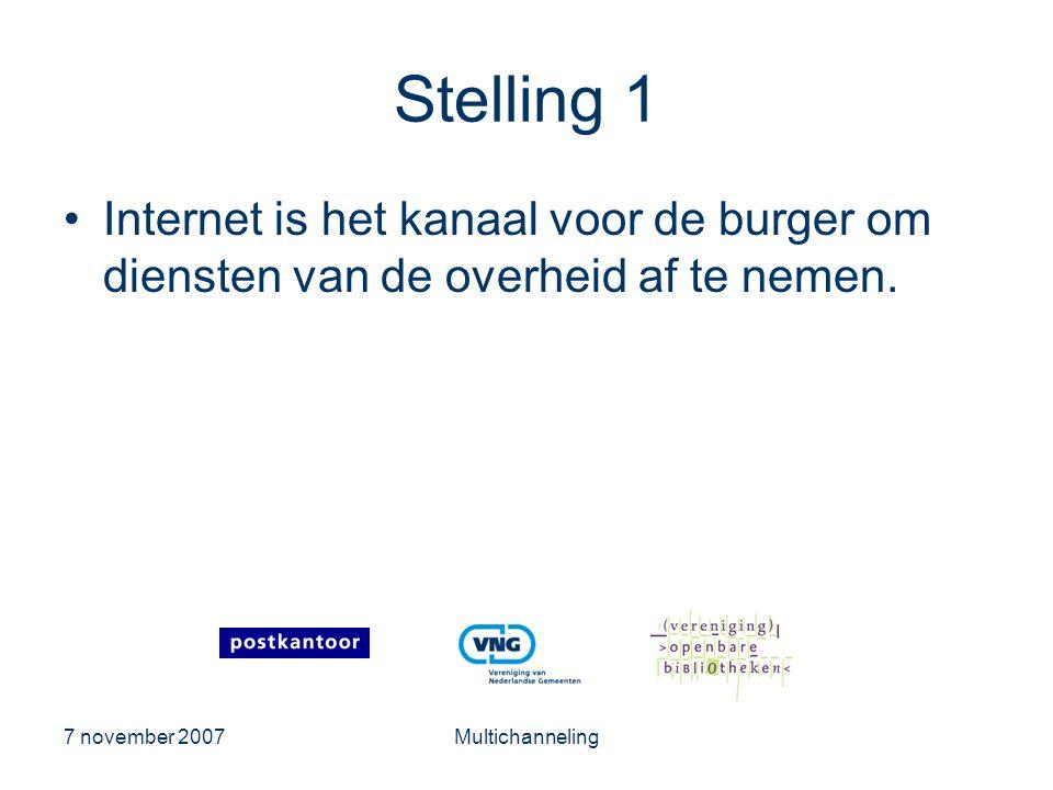 Stelling 1 Internet is het kanaal voor de burger om diensten van de overheid af te nemen. 7 november 2007.
